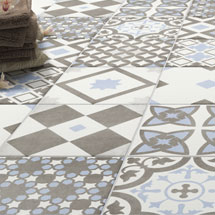 Vibe Light Blue Patterned Wall and Floor Tiles - 223 x 223mm Medium Image
