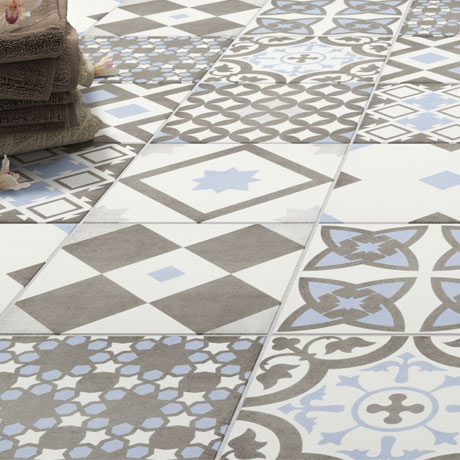 Vibe Light Blue Patterned Wall and Floor Tiles - 223 x 223mm