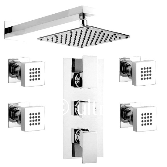 Ultra Vibe Concealed Thermostatic Triple Shower Valve w/ Square Fixed Head & Body Jets - Chrome Profile Large Image