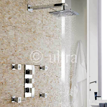 Ultra Vibe Concealed Thermostatic Triple Shower Valve w/ Square Fixed Head & Body Jets - Chrome Large Image