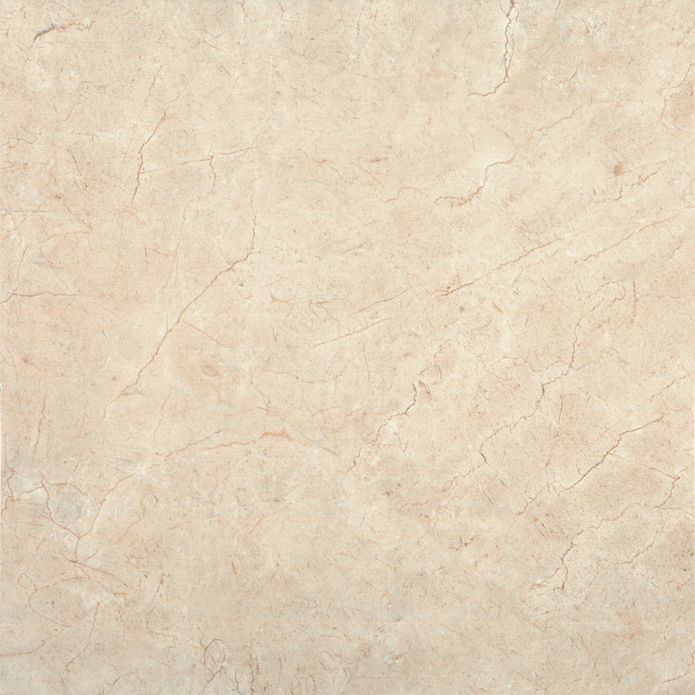 Victorian Chequered Plain Gloss Cream Marble Effect Floor Tile - 600 x 600mm Large Image