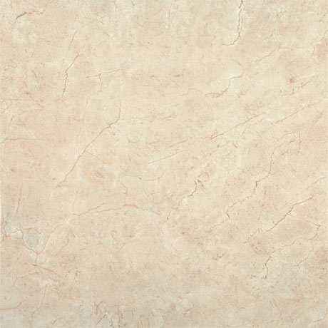 Victorian Chequered Plain Gloss Cream Marble Effect Floor Tile - 600 x 600mm