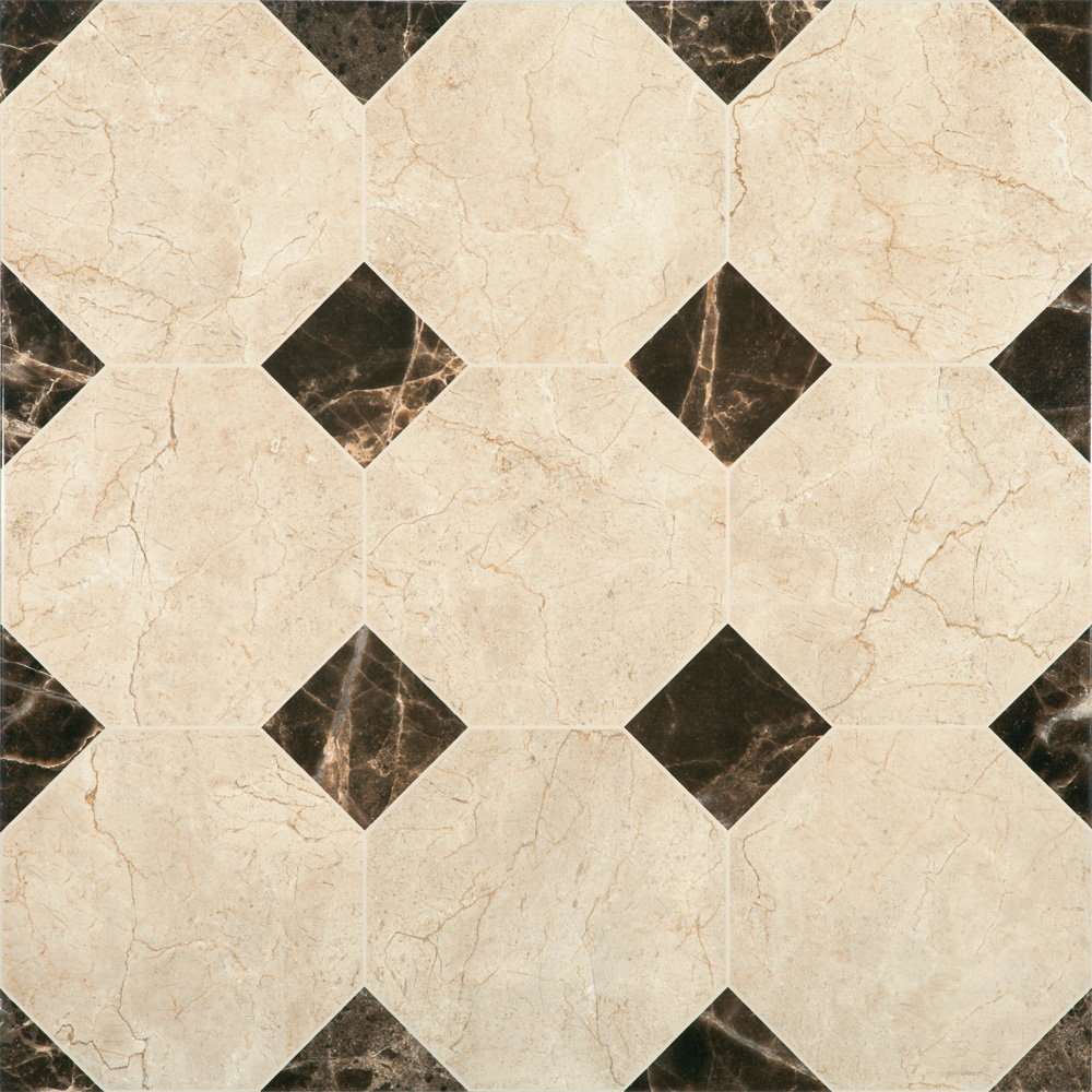 Victorian Chequered Gloss Cream Marble Effect Floor Tile - 600 x 600mm Large Image