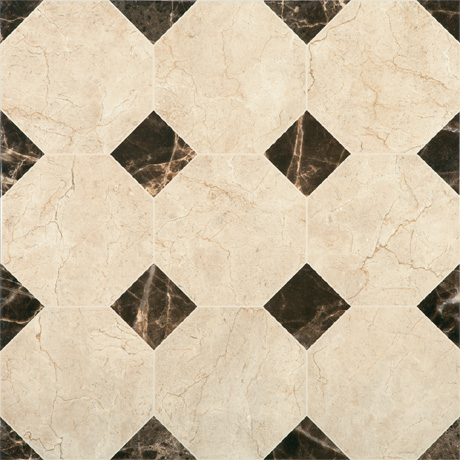 Victorian Chequered Gloss Cream Marble Effect Floor Tile - 600 x 600mm