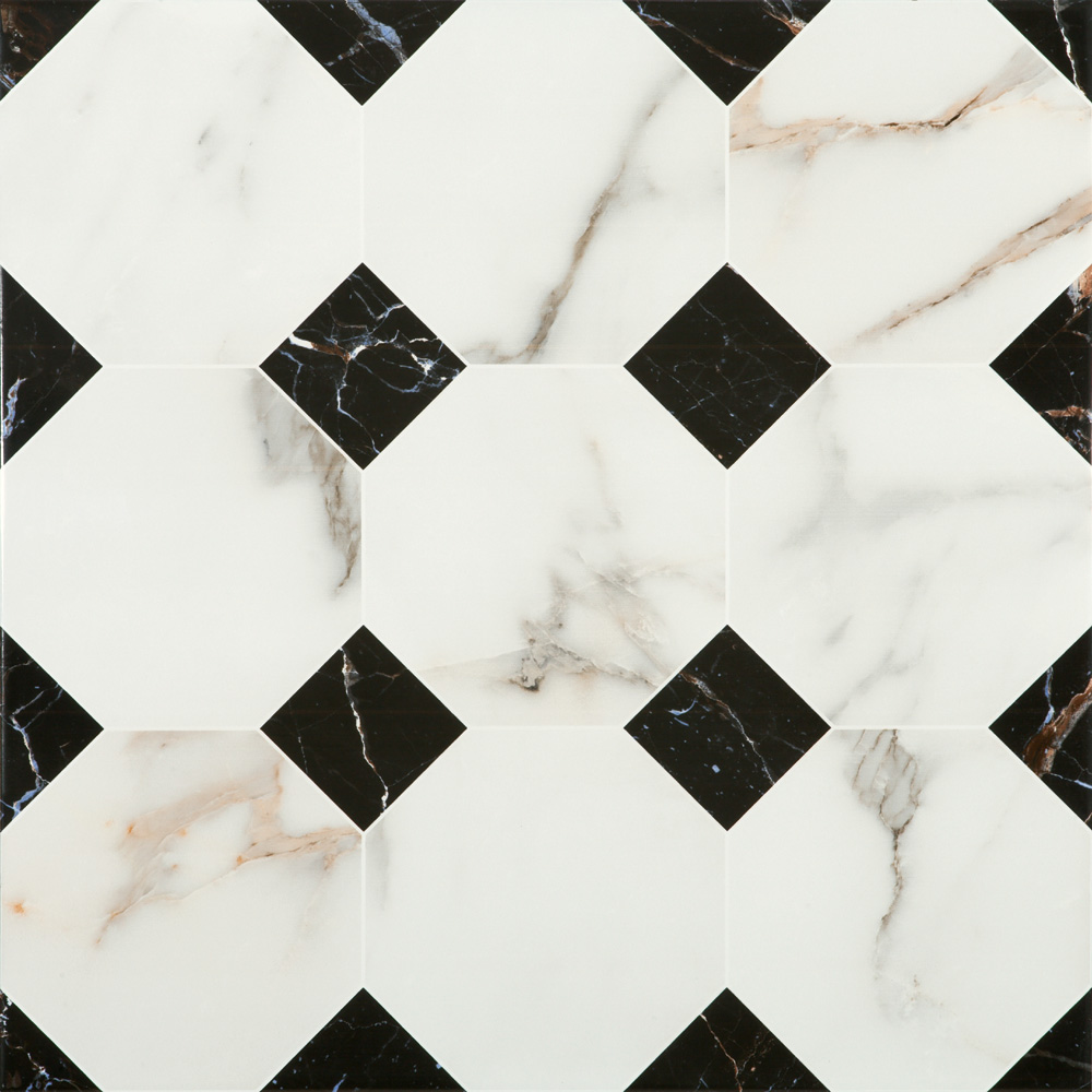 Victorian Chequered Gloss White Marble Effect Floor Tile - 600 x 600mm Large Image