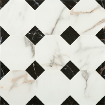 Victorian Chequered Gloss White Marble Effect Floor Tile - 600 x 600mm Medium Image