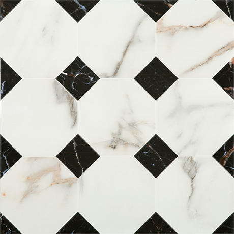 Victorian Chequered Gloss White Marble Effect Floor Tile - 600 x 600mm