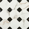 Victorian Chequered Gloss White Marble Effect Floor Tile - 600 x 600mm Small Image