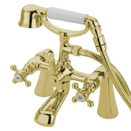 Tre Mercati Victoria Pillar Bath Shower Mixer with Kit - Antique Gold
