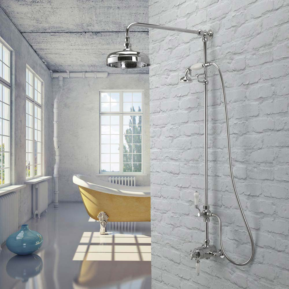 Tre Mercati Victoria Exposed Thermostatic Shower Valve with Riser Kit & Rose - Chrome  Newest Large Image