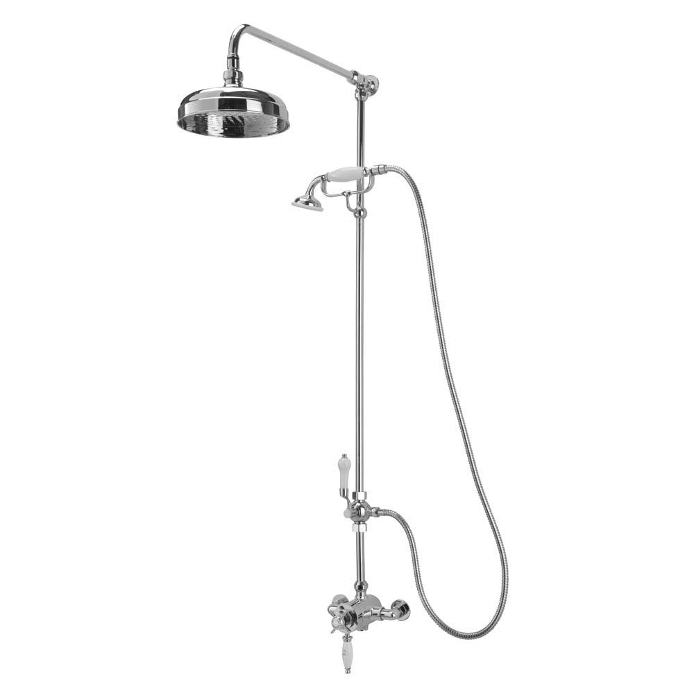 Tre Mercati Victoria Exposed Thermostatic Shower Valve with Riser Kit & Rose - Chrome Large Image