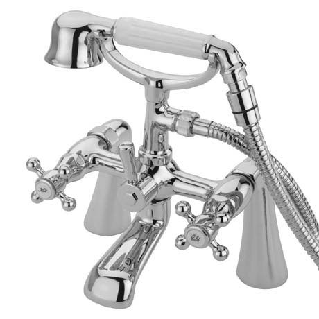 Tre Mercati Victoria Pillar Bath Shower Mixer with Kit - Chrome
