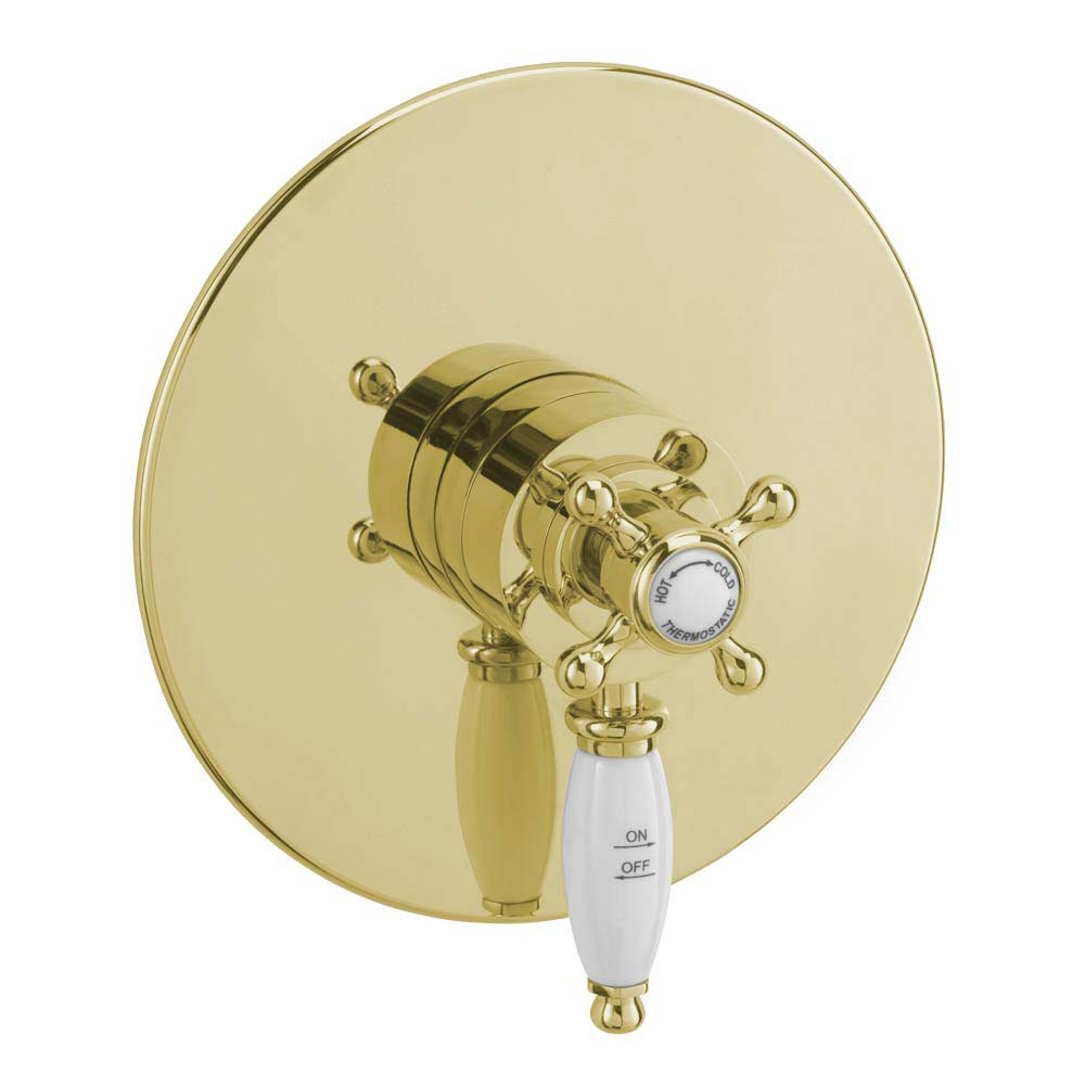 Tre Mercati Victoria Exposed/Concealed Thermostatic Shower Valve - Antique Gold Large Image
