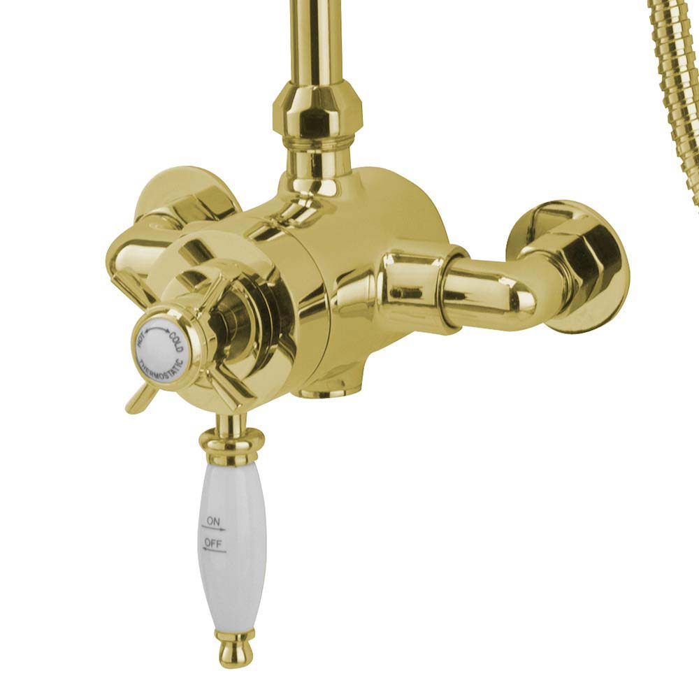 Tre Mercati Victoria Exposed Thermostatic Shower Valve with Riser Kit & Rose - Antique Gold profile large image view 2