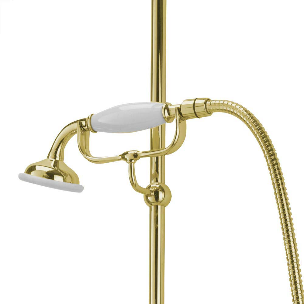 Tre Mercati Victoria Exposed Thermostatic Shower Valve with Riser Kit & Rose - Antique Gold profile large image view 4