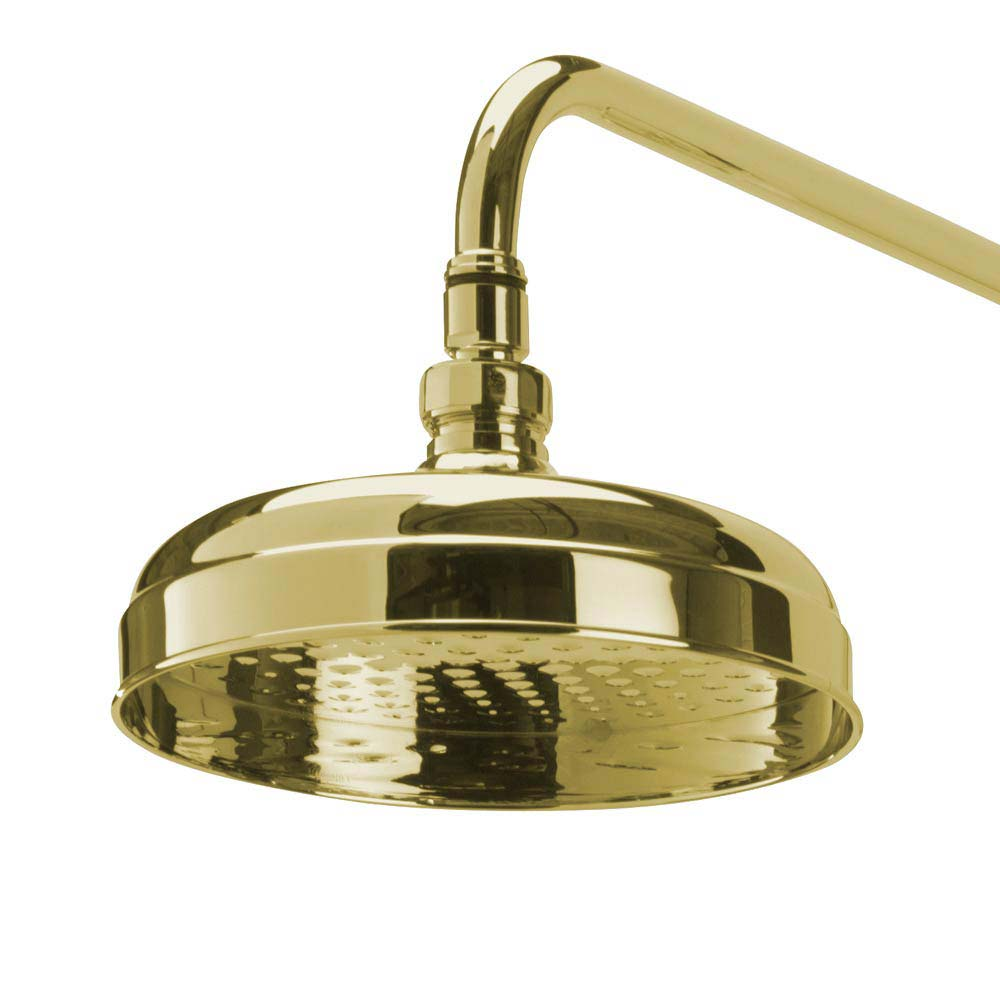 Tre Mercati Victoria Exposed Thermostatic Shower Valve with Riser Kit & Rose - Antique Gold profile large image view 5