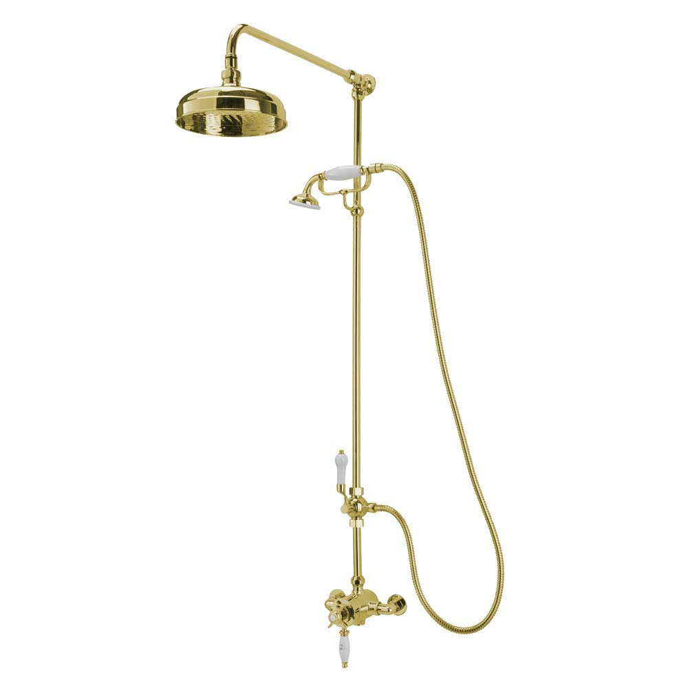 Tre Mercati Victoria Exposed Thermostatic Shower Valve with Riser Kit & Rose - Antique Gold Large Im