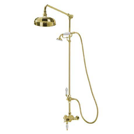 Tre Mercati Victoria Exposed Thermostatic Shower Valve with Riser Kit & Rose - Antique Gold