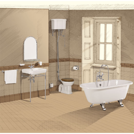 Burlington Victorian 5 Piece Bathroom Suite Large Image