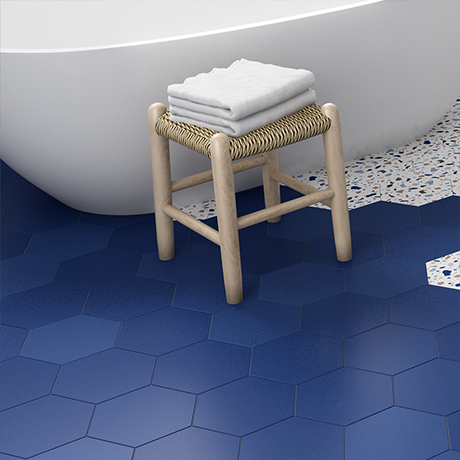 Vista Royal Blue Hexagon Porcelain Wall + Floor Tiles - (Pack of 27) - 215 x 250mm