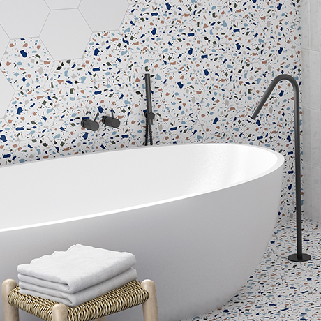 Vista Terrazzo Effect Hexagon Porcelain Wall + Floor Tiles - (Pack of 27) - 215 x 250mm