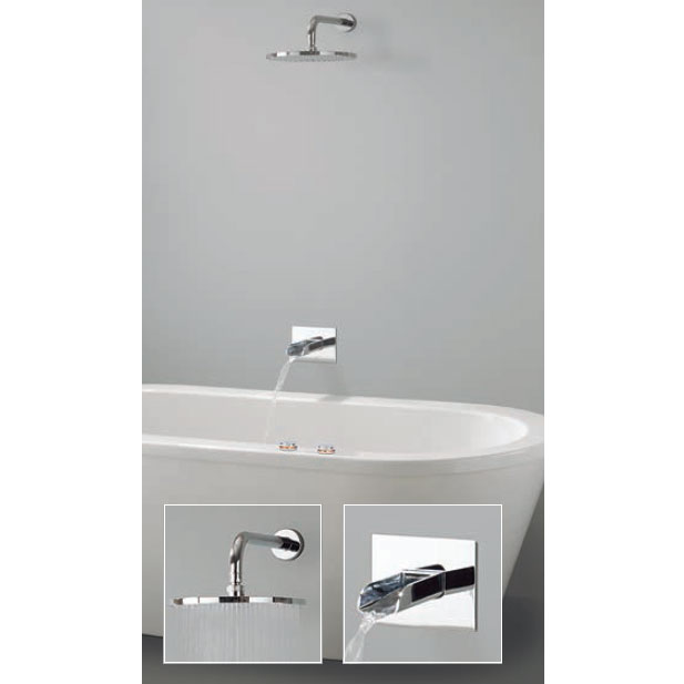 Crosswater Digital Vision Duo Bath with Bath Spout and Wall Mounted Fixed Showerhead Large Image