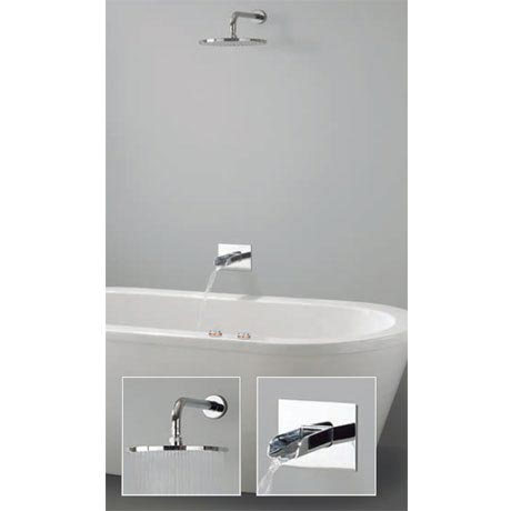 Crosswater Digital Vision Duo Bath with Bath Spout and Wall Mounted Fixed Showerhead