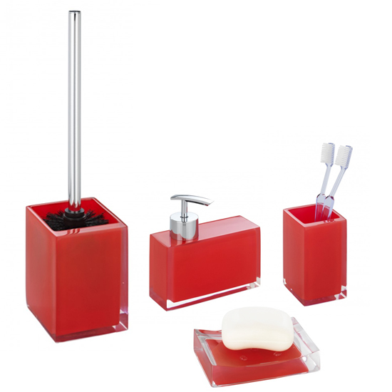 Wenko visone bathroom accessories set red at victorian for Red and white bathroom accessories