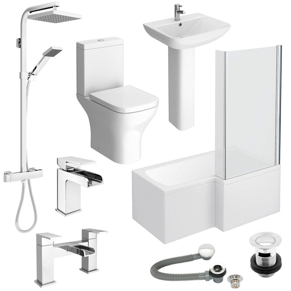 Cove Complete Bathroom Suite: Venice L-Shaped 1500 Complete Bathroom Package
