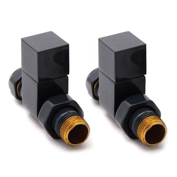 Reina Loge Straight Radiator Valves - Anthracite Large Image