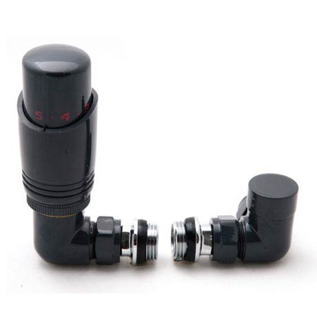 Reina Modal TRV Corner Radiator Valves with Lockshield - Anthracite