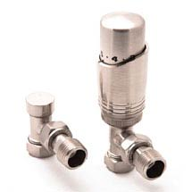 Reina Modal TRV Angled Radiator Valves with Lockshield - Brushed Chrome Medium Image
