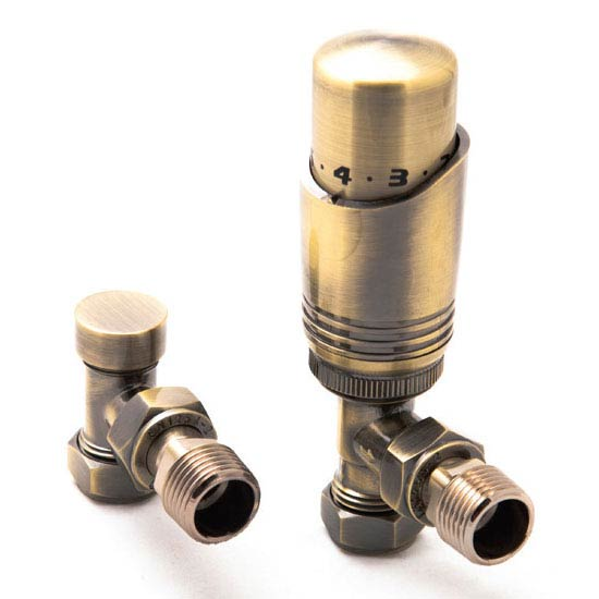 Reina Modal TRV Angled Radiator Valves with Lockshield - Bronze profile large image view 1