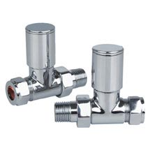 Reina Portland Straight Radiator Valves - Chrome Medium Image