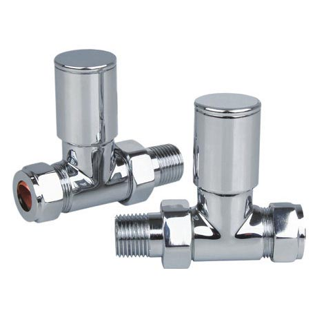 Reina Portland Straight Radiator Valves - Chrome