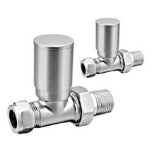 Reina Portland Straight Radiator Valves - Brushed Chrome Medium Image