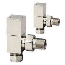 Reina Richmond Angled Radiator Valves - Brushed Chrome Medium Image