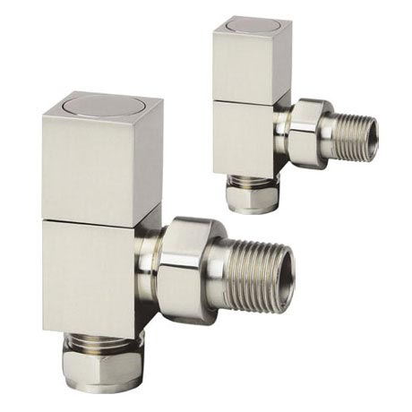 Reina Richmond Angled Radiator Valves - Brushed Chrome