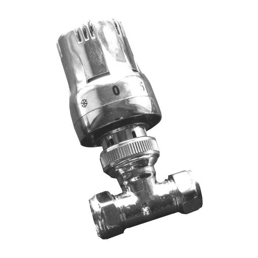 Reina Windsor Thermostatic Straight Radiator Valves with Lockshield Large Image