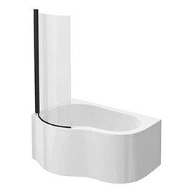 Venice Curved Corner Shower Bath - 1500mm with Matt Black Screen + Panel
