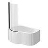 Venice Curved Corner Shower Bath - 1500mm with Matt Black Screen + Panel profile small image view 1