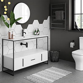 Venice Black Frame Basin Washstand - 1 Drawer, 2 Cupboards inc. 1200mm Solid Stone Basin