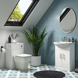 Venice 560mm Gloss White Vanity Unit with Brushed Brass Handles + Toilet Package