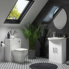 Venice 560mm Gloss White Vanity Unit with Matt Black Handles + Toilet Package