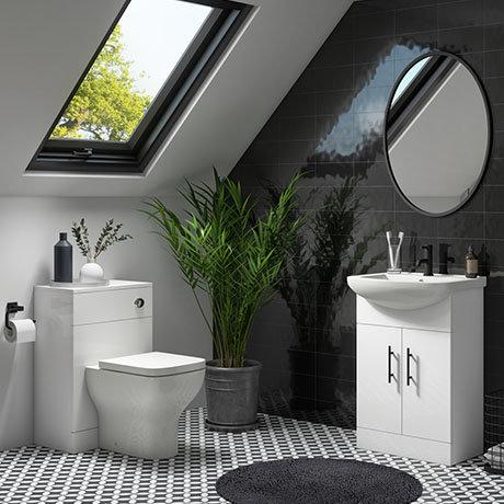 Venice 560mm Gloss White Vanity Unit + Toilet Package