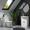 Venice 560mm Gloss White Vanity Unit with Matt Black Handles + Toilet Package profile small image view 1