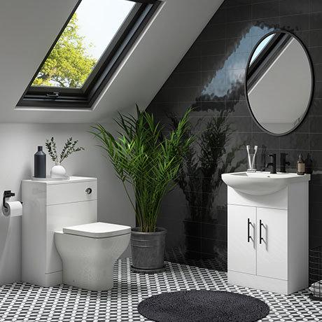 Venice 665mm Gloss White Vanity Unit + Toilet Package