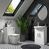 Venice 665mm Gloss White Vanity Unit with Matt Black Handles + Toilet Package profile small image view 1