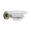 Venice Brushed Nickel Glass Soap Dish & Holder profile small image view 1