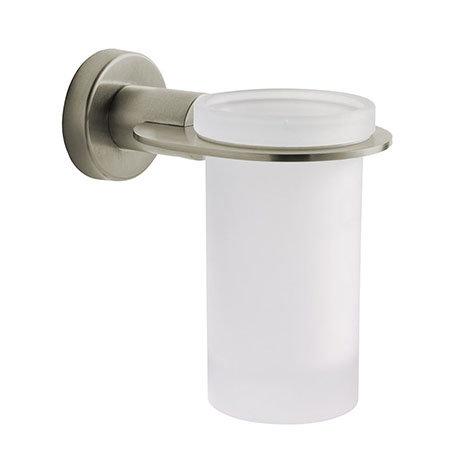 Venice Brushed Nickel Glass Tumbler & Holder